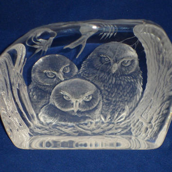 Glass Owl sculpture - Dartington Crystal glass-art sculpture - Owls. Glass owl paperweight designed by Alfred Capredoni
