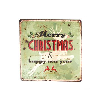 """Vintage Style Metal Square """"Merry Christmas"""" Sign with Reindeer, Light Green , 11-3/4-Inch"""