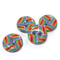 Colorful stripes buttons, Polymer Clay buttons in rainbow colors,  set of 4 unique buttons