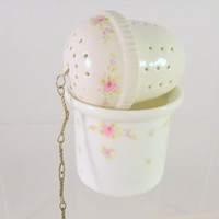 Kaiser Porcelain Tea Ball Strainer Infuser Waste Bowl Set West Germany