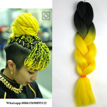 Black Yellow Color kanekalon synthetic hair jumbo braids ombre synthetic braiding yaki straight braids hair extensions for box
