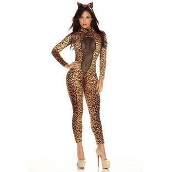 ESBONG Patent leather sexy women wild cat Siamese cat girl cosplay Leopard Catwoman costume party [8978892167]