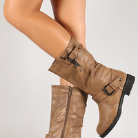 Cone Stud Engineer Leatherette Mid Calf Boot