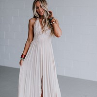 Carmen Crochet Front Slit Maxi Dress - Natural