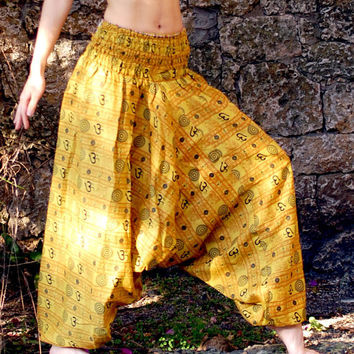 100% Organic Cotton Vibrant Yellow Harem Pants with Om Print-Yoga Wear, Lounge Wear, Dance Wear, Spacious, Beautiful Colors