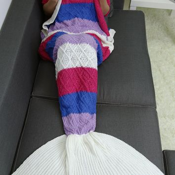 Home Decor Striped Crochet Knit Rhombus Mermaid Blanket Throw