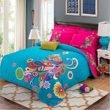 Bohemia Style Bedding Sets King Queen Size 4PCS Thicken Cotton Duvet/Quilt Cover Set Boho Soft Bed Sheet Home Textile
