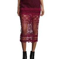 Cutwork-Lace Pencil Skirt, Burgundy, Size: