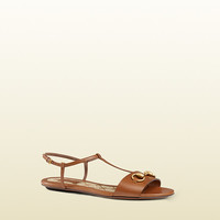 Gucci - leather t-strap sandal 384829A3N002535