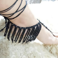 Foot jewelry, fringe, slave barefoot sandals, bdsm, barefoot, boho, beach wedding barefoot sandals, beachwear, Fringe barefoot sandals,