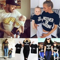 Fashion Family Matching Clothes Mother Father Son Baby Girls Boy Kid Shirt T-shirt Tops Short Sleeve 2017 Summer Clothes