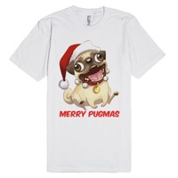 Merry Pugmas-Unisex White T-Shirt