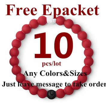 10pcs fashion muiticolor silicone lokai bracelet for men and women 4 size