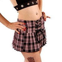 Laced Pleated Plaid Mini Skirt - Choose Your Color