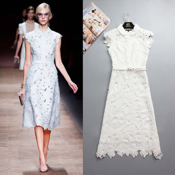 Fashion dress collar dresses Peterpan water flowers in spring and summer women's fashion runway 2016 Send Belt Free shipping
