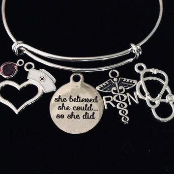She Believed She Could Registered Nurse RN Jewelry Expandable Charm Bracelet Silver Bangle Medical Occupational Charm Trendy Gift