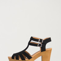 Double Buckled Strappy Wooden Platform Sandals