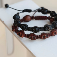 Mens SKULL Bracelet -Mens Black Or Brown Stone Skull Bracelet