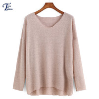 Winter Designer Brand Fashionable New Arrival Pullover Women's Knitwear Casual Long Sleeve V Neck Dip Hem Apricot Sweater