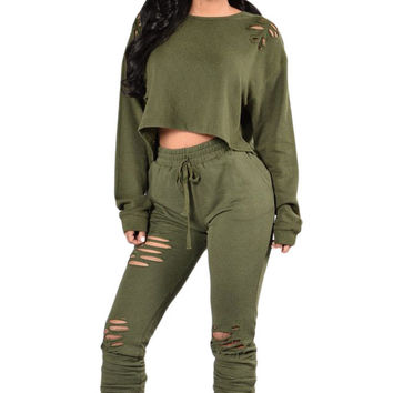 Olive Green Savage Distressed Two Piece Pant Set
