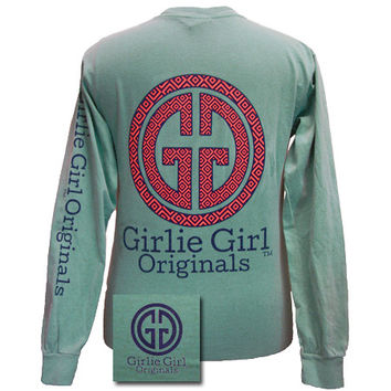 Girlie Girl Originals Collection Preppy Logo Comfort Colors Seafoam Bright Long Sleeves T Shirt