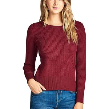 Ribbed long sleeves top