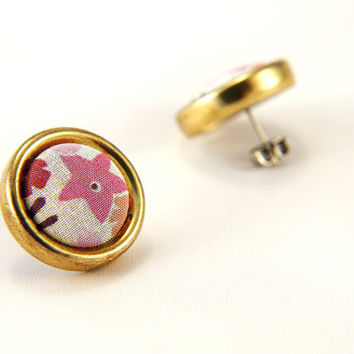 Liberty of London Fabric Button Star Earrings for Sensitive Ears - Limited Edition OOAK Designer Patterned Fabric wrapped with a Brass Rim