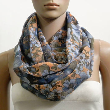 Floral Infinity Scarf Shawl Gray Chunky Fashion Scarves for Women Circle Cowl Scarf Long Tube Scarf Loop Summer Scarf Gift for her Handmade