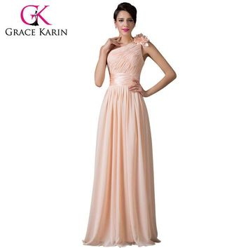 DCCKDZ2 Grace Karin Bridesmaid Dress Beautiful One Shoulder Chiffon Apricot Floor Length Prom Gown Dance Long Bridesmaid Dresses 2016