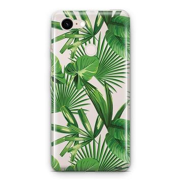 Tropical Palm Leaves Google Pixel 3 Clear Case