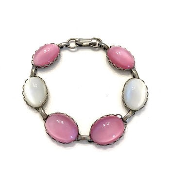Pink & White Moon Glow Bracelet, 4 Pink 2 White Large Oval Moon Glow Cabochons, Silver Tone Metal, Dimensional Cabs, Vintage Gift for Her