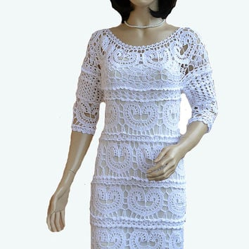 White dress  handmade lace crocheted MADE TO ORDER women stylish romantic feminine summer  unique gifts