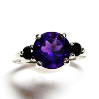 "Amethyst, amethyst accent ring, amethyst spinel ring, purple black, anniversary,  s 6 1/2    ""Purple Sunset"""