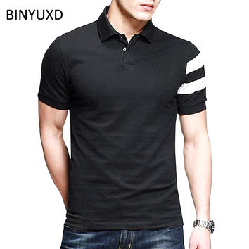 BINYUXD Brand Polo Men New Summer Cotton Short Sleeve Polo Shirt Male Plus Size XXXL Slim Fit Turn-down Casual Men Shirt Black