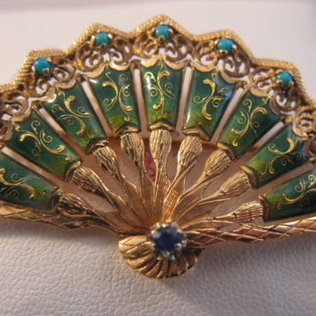 Vintage 18k Gold Enameled Fan Brooch with Turquoise - Perfect Gift for Her