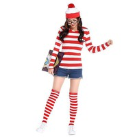 DCCKHY9 2016 Where's Wally Waldo TV Cartoon Stag Night Outfit Adult Mens Fancy Dress Costumes halloween costume for women cosplay