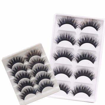 YOKPN Fake Eyelash 5 Pairs Blue Mixed Black Makeup Lashes Thick Crisscross Fasle Eyelashes Stage Makeup Eyelashes Extension Tool