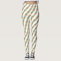 Funky Pale Green Yellow Yummy Pineapple Leggings