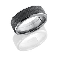 Titanium 8mm Wide Treebark Finish Wedding Band with Beveled Edges