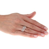 Sterling Silver 1/6ct TDW Diamond Crown Ring | Overstock.com