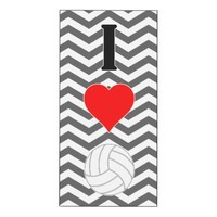 I Love Volleyball Cute Wall Art Vertical Panel Wood Print