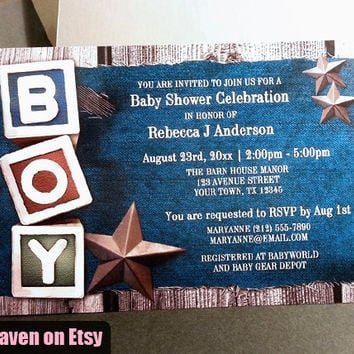Rustic Boy Baby Shower Invitations PRINTED -  10 to 250 - Denim Southern Country Rustic Stars and Toy Blocks