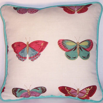 """Butterfly Throw Pillow - Aqua Pink Purple - Painted Lady by Osborne & Little - 15"""" White Linen with Teal Welt - Insert Included Ready Ship"""