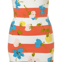 Coral Stripe Flower Bodycon Bandeau Dress - Dresses - Clothing - Topshop USA