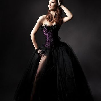 Size Small plum and black burlesque tulle prom dress by Glamtastik