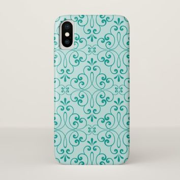 Elegant, teal aqua blue, ornate damask pattern iPhone x case