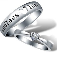 18K White Gold Plated Endless Love Couple Band Ring - Women Size 5