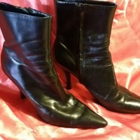 """Nine West 8.5M Women's Black Leather Ankle Boots Side Zip 3.5"""" Heels Pointed Toe"""