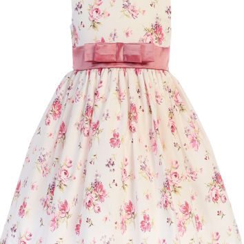 Dusty Rose Floral Print Cotton Dress w Satin Sash Girls 3M - 10