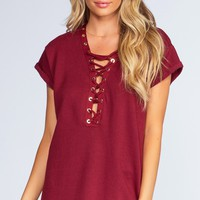 Brooke Lace Up Top - Burgundy
